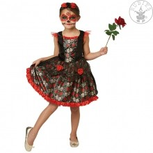 Red Rose Day of the Dead Kleid MEDIUM für Kinder