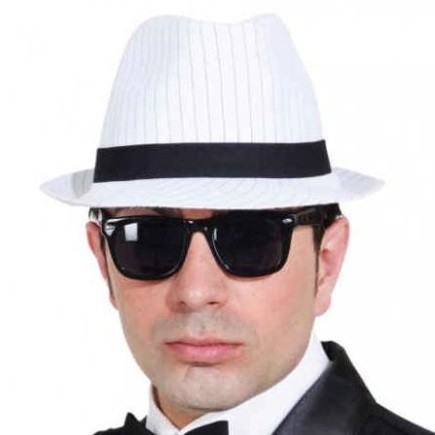 Gangster Hut weiss mit Nadelstreifen KW 59