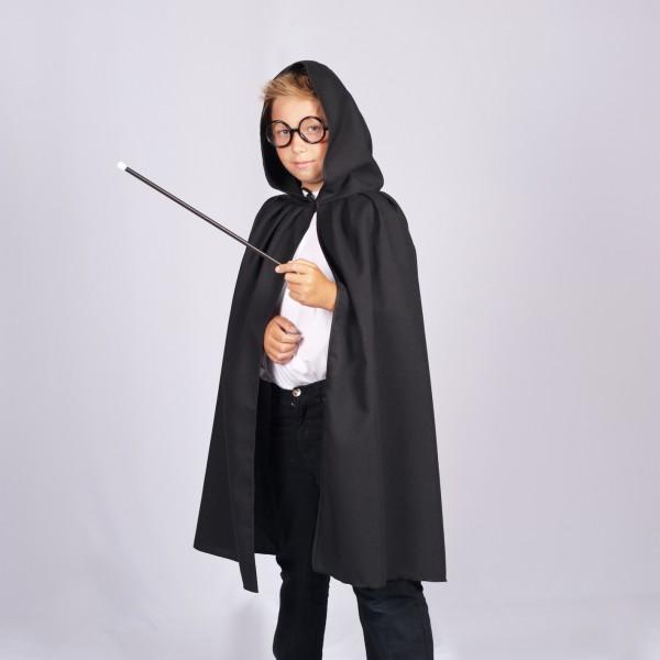 Umhang mit Kapuze schwarz MEDIUM für Kinder