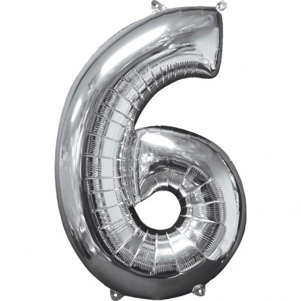 """Zahlen Luftballon """"6"""" silber ca.66x43cm"""