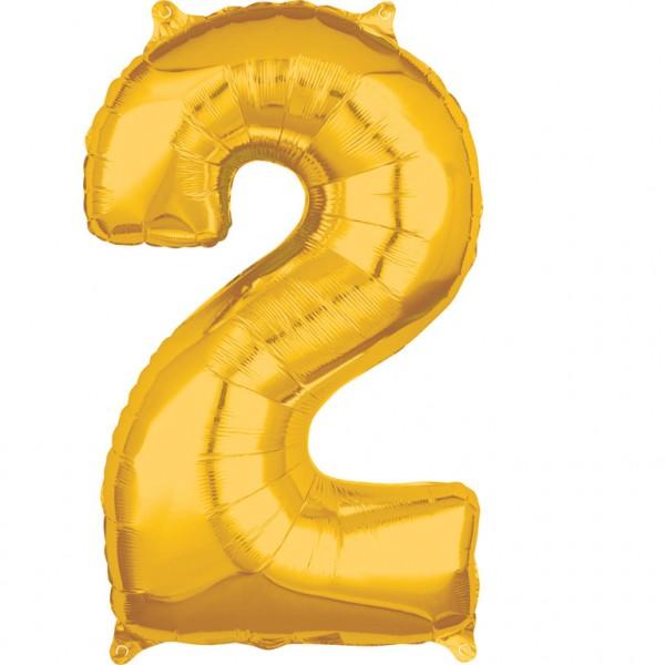 "Zahlen Luftballon ""2"" gold ca. 66x43cm"