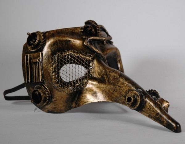 Steampunk Schnabel Maske gold-schwarz