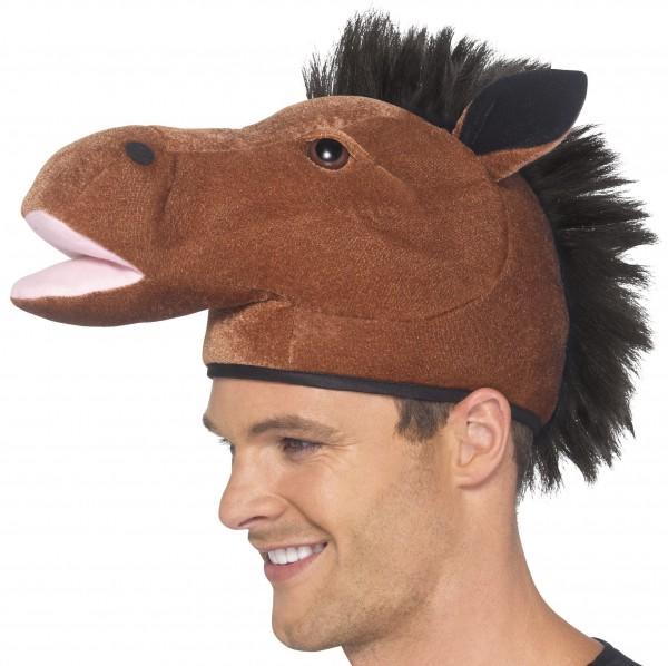Pferd Hut braun mit Mähne