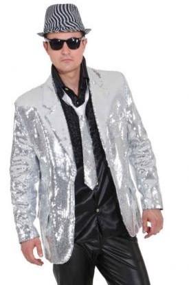 Glitter Jacke silber Größe 48/50