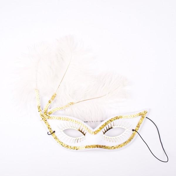 Augenmaske weiss mit Federn und goldener Dekoration