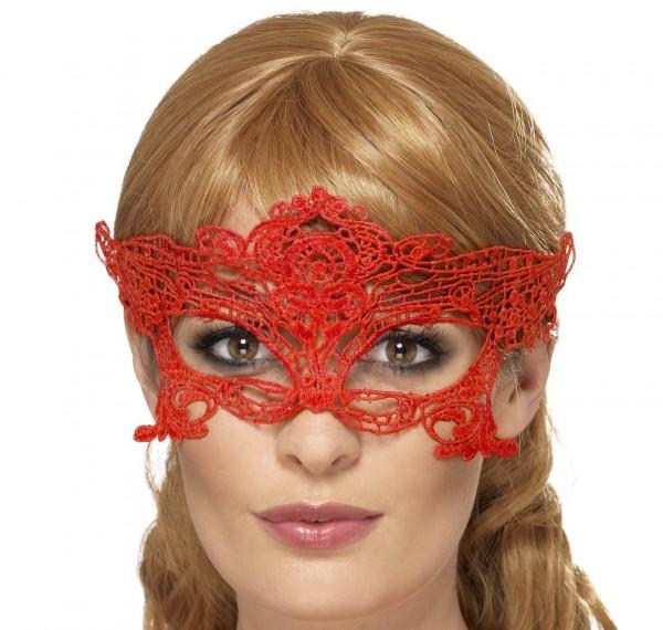 Venezianische Maske rot aus Spitze