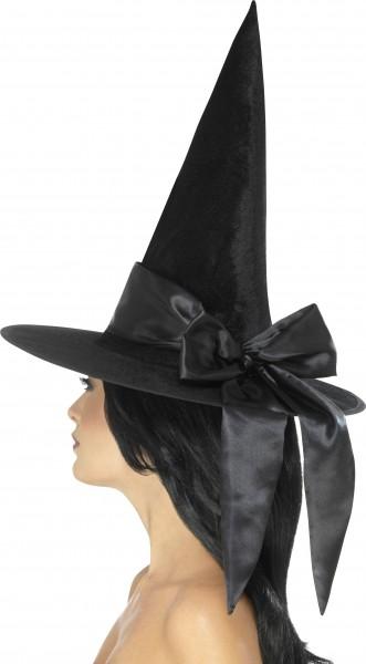 Hexenhut schwarz mit schwarzer Schleife