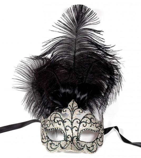 Venezianische Maske silber-schwarz-glitter mit Federn