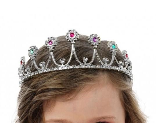 Prinzessin Diadem silber mit Schmucksteinen