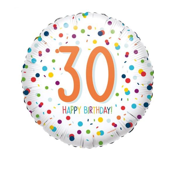 Happy Birthday Ballon 30er weiß mit Konfetti Muster
