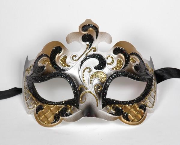 Venezianische Maske mit Glitter Motiv in gold-schwarz