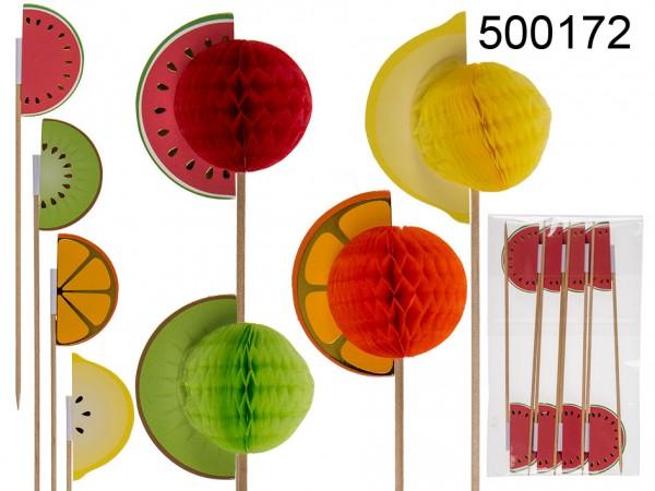 32 Stück Getränke Deko verschieden Papier Früchte