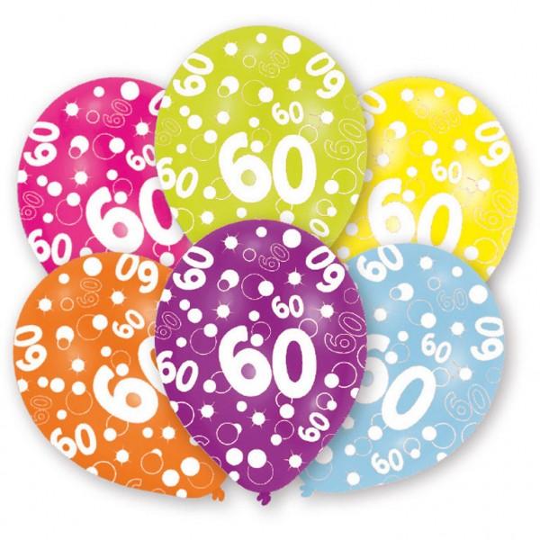 6 Stück Luftballons Happy Birthday 60er Geburtstag