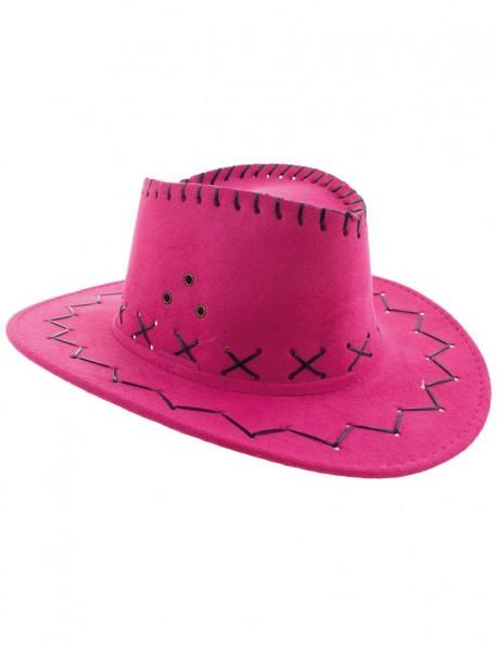 Kinder Cowboy Hut Lederoptik pink