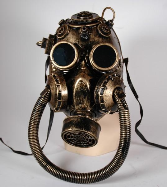 Große Steampunk Maske gold-schwarz