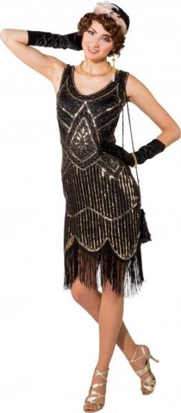 20er Jahre Pailetten Kleid S/M schwarz-silber