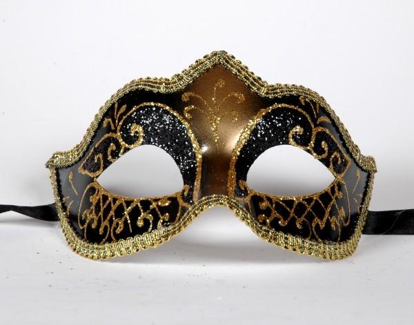 Venezianische Maske Columbine PUNTA schwarz-gold