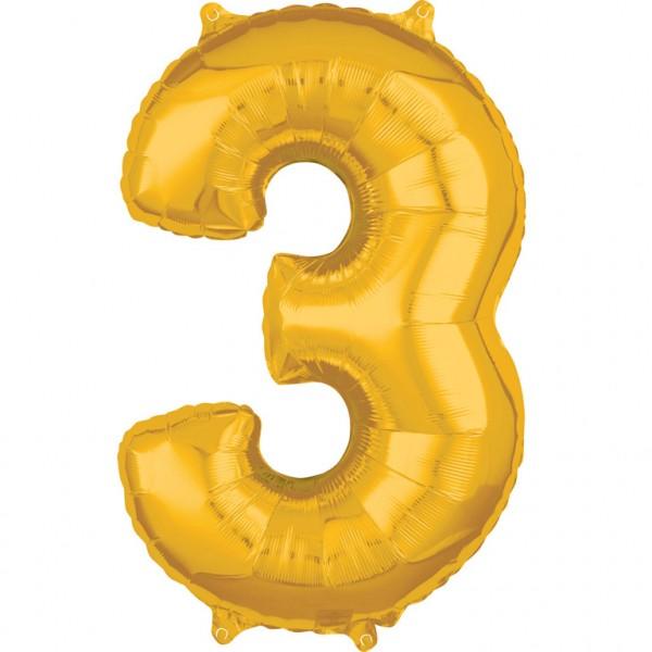 "Zahlen Luftballon ""3"" gold ca. 66x43cm"
