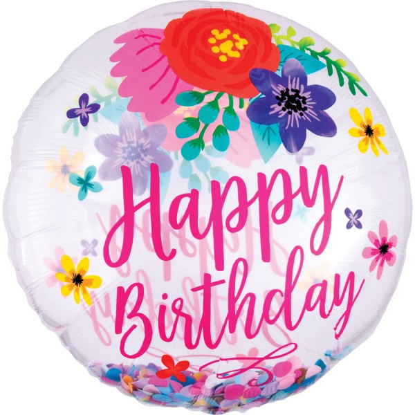 Jumbo Happy Birthday Ballon transparent mit Konfetti