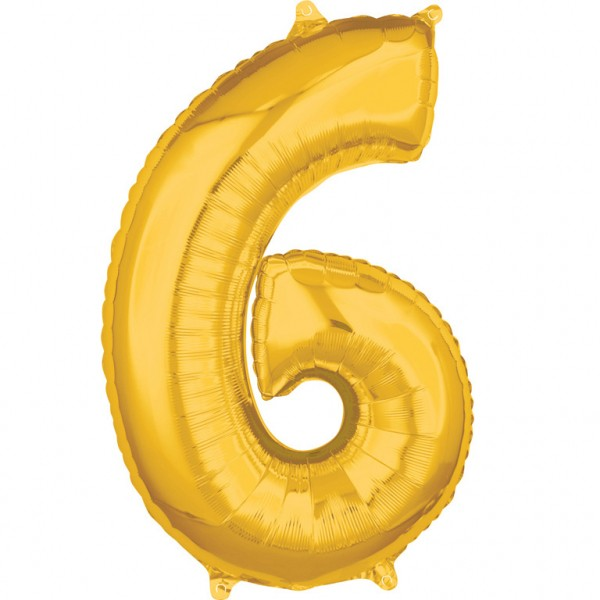 "Zahlen Luftballon ""6"" gold ca. 66x43cm"