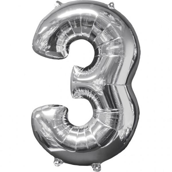 """Zahlen Luftballon """"3"""" silber ca.66x43cm"""