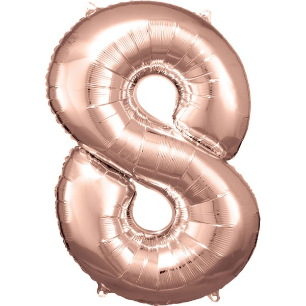 "Zahlen Luftballon ""8"" rose-gold ca. 88x58cm"
