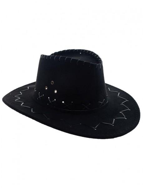 Cowboy Hut für Kinder schwarz Lederoptik