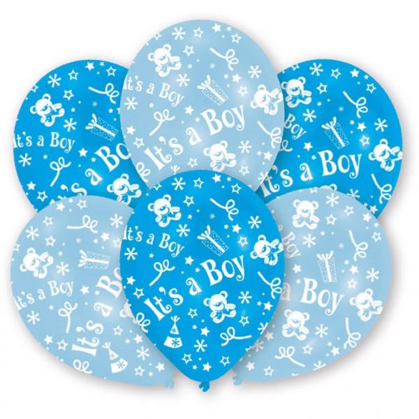 "6 Stück Luftballons hellblau ""It`s a Boy"" Motiv"