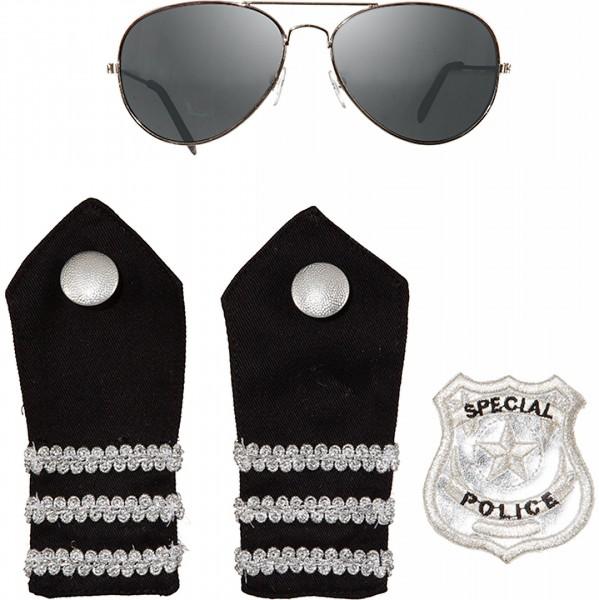 Police Set 4tlg. Brille, 2xSchulterklappen und Abzeichen
