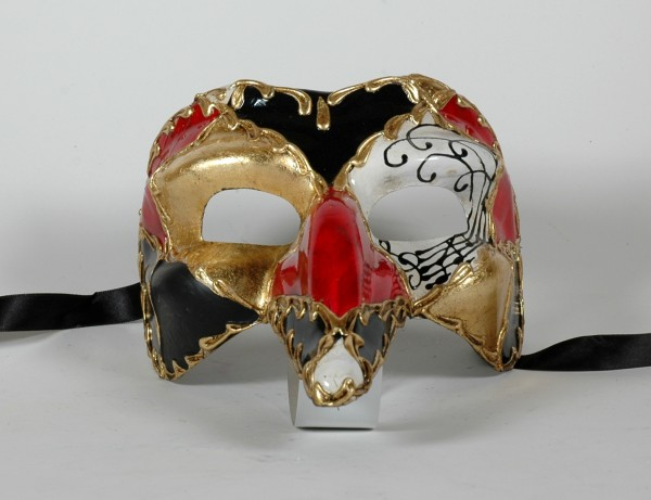Venezianische Herren Maske Capitano Form mit Karo Muster