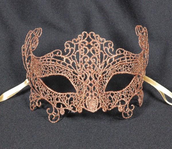 Venezianische Spitzen-Maske bronze