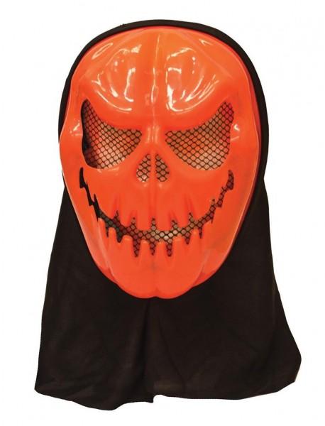 Kürbis Maske mit schwarzer Kapuze