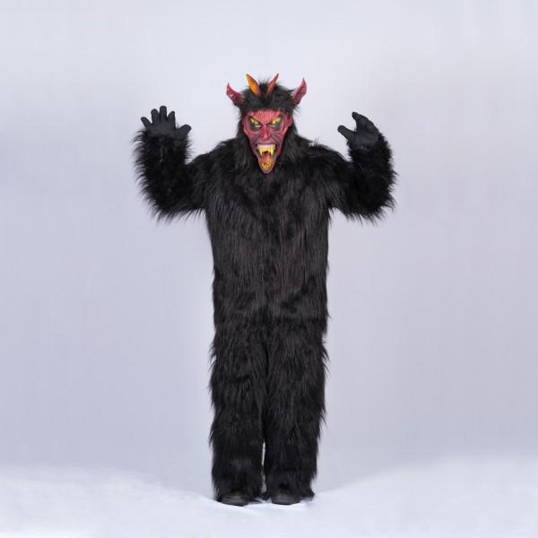 Krampus Kombi mit Erwachsenen Maske und Overall Größe 152 schwarz