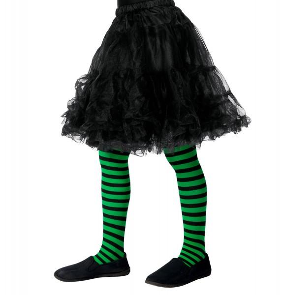 Kinder-Strumpfhose schwarz-grün gestreift