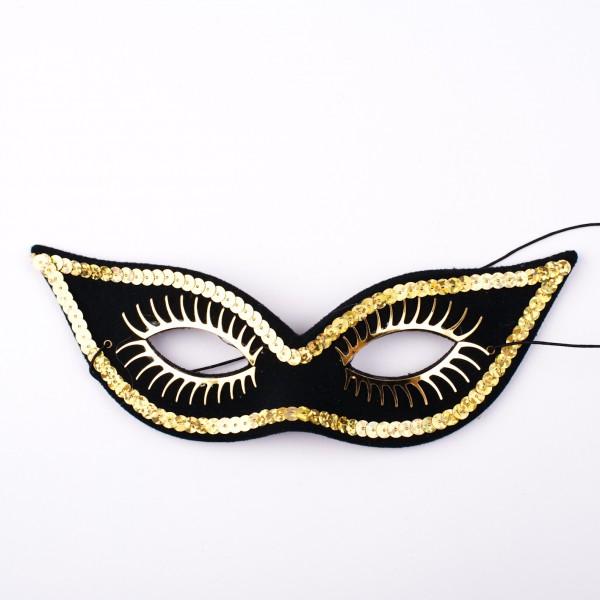 Spitze Augenmaske schwarz mit goldener Dekoration