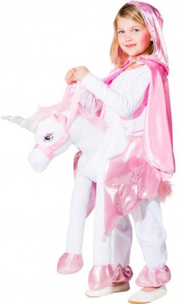 Reitkostüm Einhorn für Kinder weiss-pink