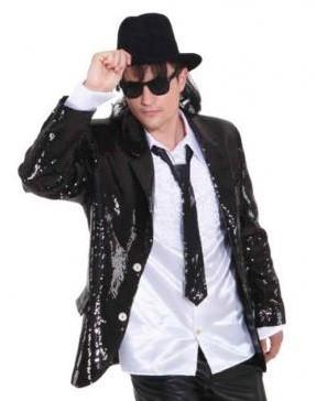 Glitter Jacke schwarz Größe 52/54