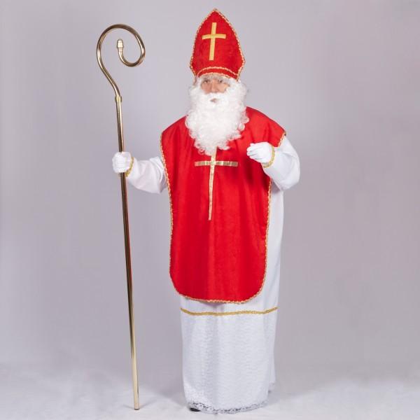 Nikolo Kostüm 3 tlg. Größe XL mit Mitra velour rot