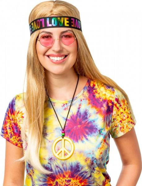 Hippie Set LOVE Stirnband, Peace Kette und Brille