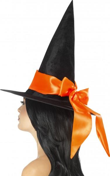 Hexenhut schwarz mit oranger Schleife