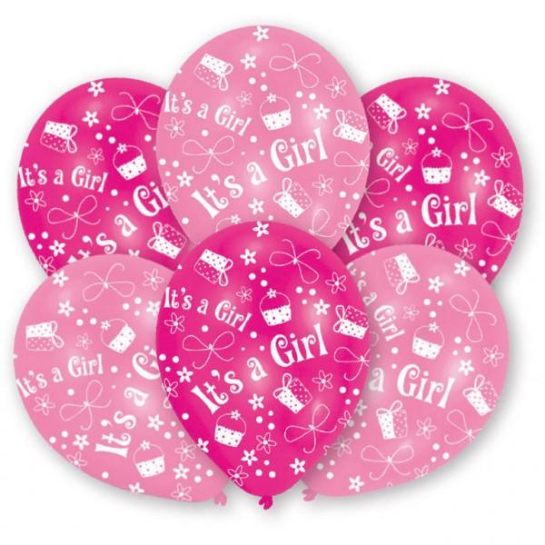 """6 Stück Luftballons rosa """"It`s a Girl"""" Motiv"""