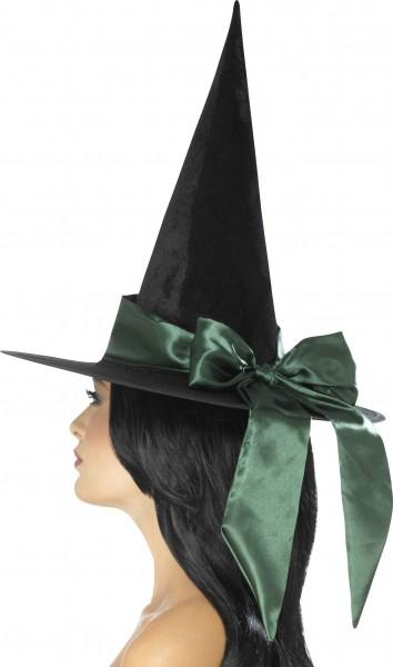 Hexenhut schwarz mit grüner Schleife