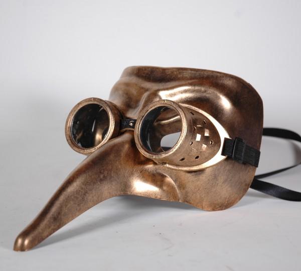 Steampunk Schnabel Maske gold mit Brille