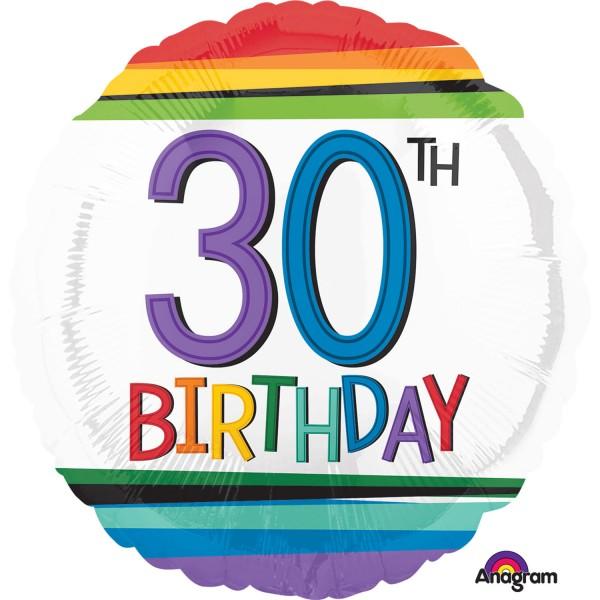 Regenbogen Birthday 30er Ballon