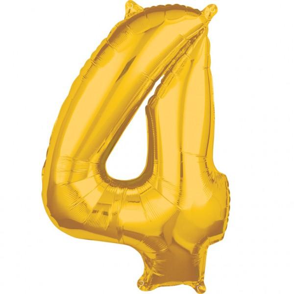 "Zahlen Luftballon ""4"" gold ca. 66x45cm"