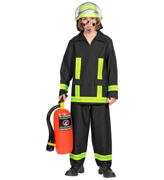 Feuerwehr Mann Kostüm schwarz Größe 116