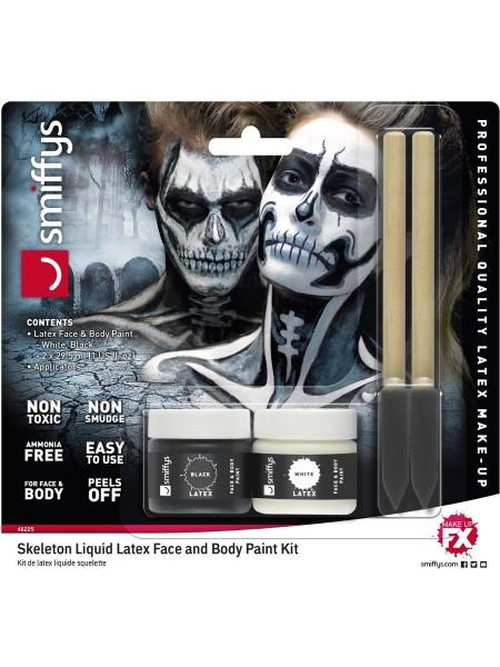 Latex Make-up Set schwarz und weiß