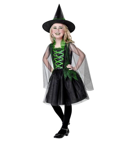 Grün-Schwarze Hexe Kleid mit Hut Größe 128