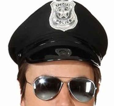 amerikanische Polizeimütze schwarz Größe 56
