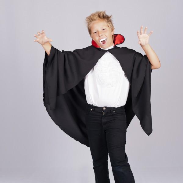 Vampir Umhang für Kinder SMALL mit rotem Kragen